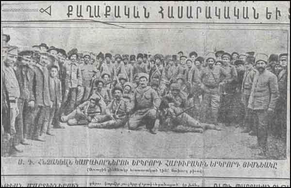 2 Hınçaq erməni könüllü alayının ikinci bölüyü Yeridasaret Hayastan (Gənc Ermənistan) qəzetindən 20 İyul 1915