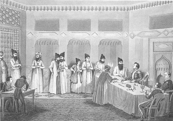 Paskevich and Abbas Mirza in Turkmanchay muellif Vladimir Moshkov (1792-1839)