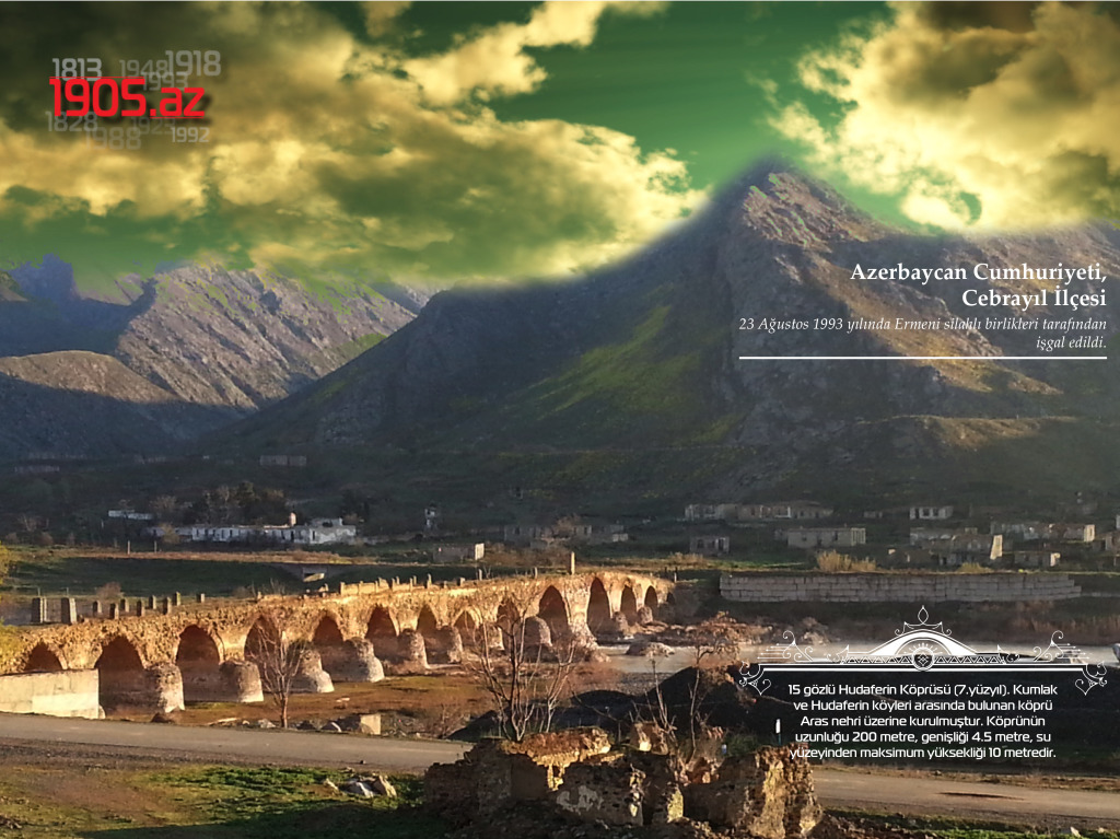 15 gözlü Hudaferin Köprüsü_Cebrayıl İlçesi