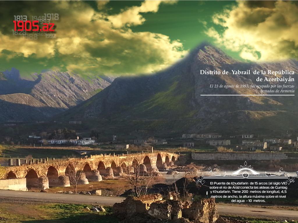 El Puente de Khudafarin de 15 arcos _Distrito de Yabrail