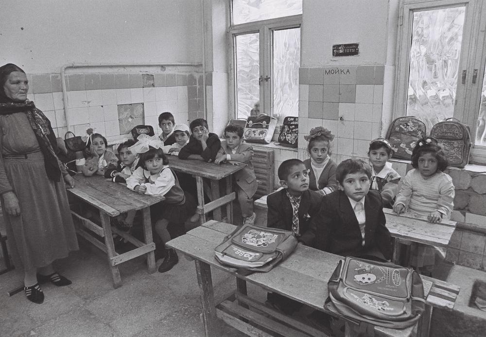 Internally displaced persons studying. Baku. 1997. Photo by Mirnaib Hasanoglu