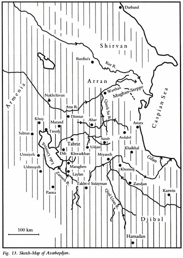 karta Арабские, мусульманские средневековые источники об Азербайджане на Кавказе