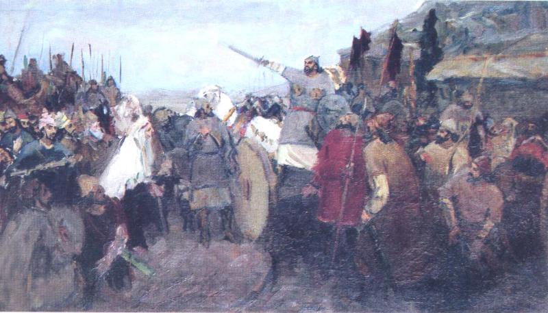 «Восстание Бабека». Художник: Саттар Бахлулзаде, 1939-1940