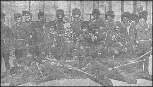 "A group of the Hinchak volunteer bandsmen who took part in the fightings at Caucasus against the Ottoman and who commited horrible crimes and atrocities amongst the Mohamedan population of devastated villages and towns. (From the Armenian Daily ""Azk"" of March 2nd 1915)"