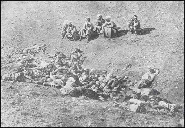 A group of Muslim women and children from Hizir İllias village, Diyarbakir, helpless and defenseless on account of the absence of their husbands and male relatives serving in the Army, were, on July 23, 1915, slaughtered at Mersin Dere, by means of daggers and shot by rifles in a most pitiless and horibble way by an Armenian Band under the the notorious and well known bandit Hono.