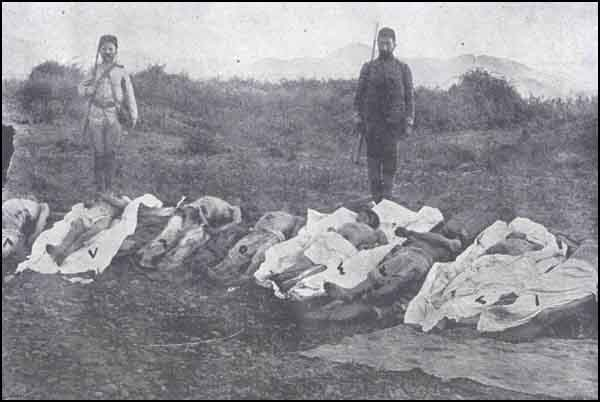 Photo, taken on the spot, of some of Msulim victims assassinated with hachets by Armenians in the village of Koollar.