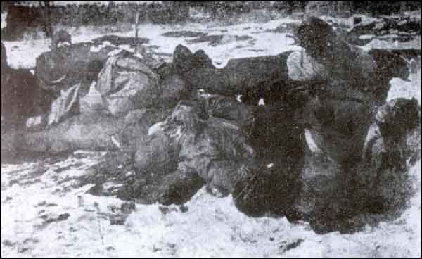 Turkish people massacred by the Armenians with axes in Hasankale.
