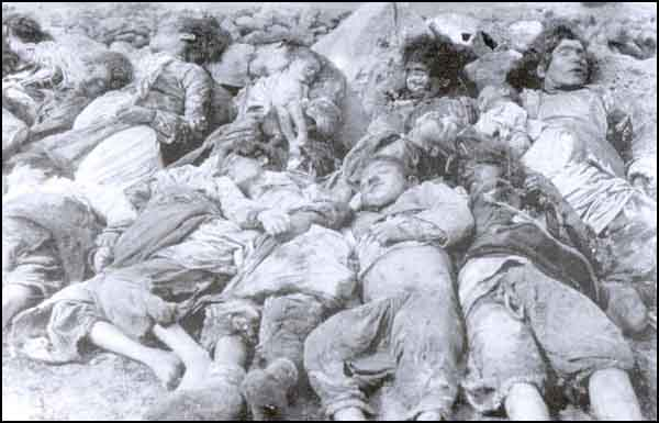 Turkish children and women killed by the Armenians. Some of the women were killed by taking the babies out from their wombs. Subatan, April 25, 1918.