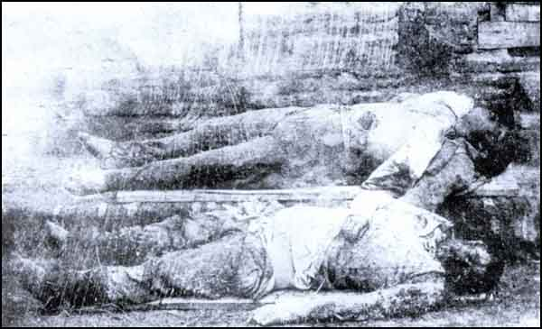 Turkish people who were killed by torturing, their abdomens were burnt.